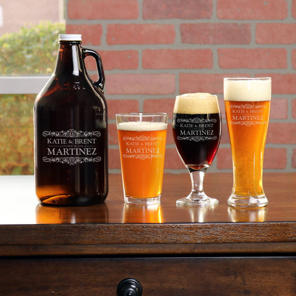 Growler with 2 Beer Glass Set - L1