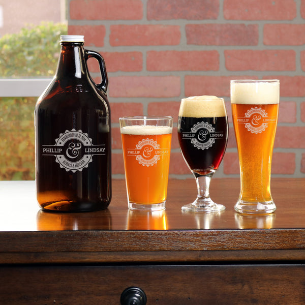 Growler with 2 Beer Glass Set - N3