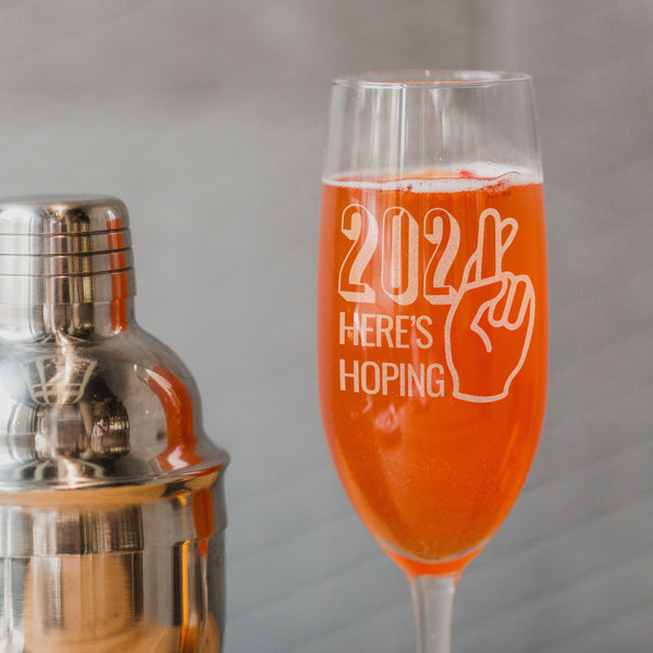 2 Champagne Flute Set New Years 2021 - Design: HOPE2021