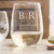 Etched Stemless White Wine Glasses - Design: L2