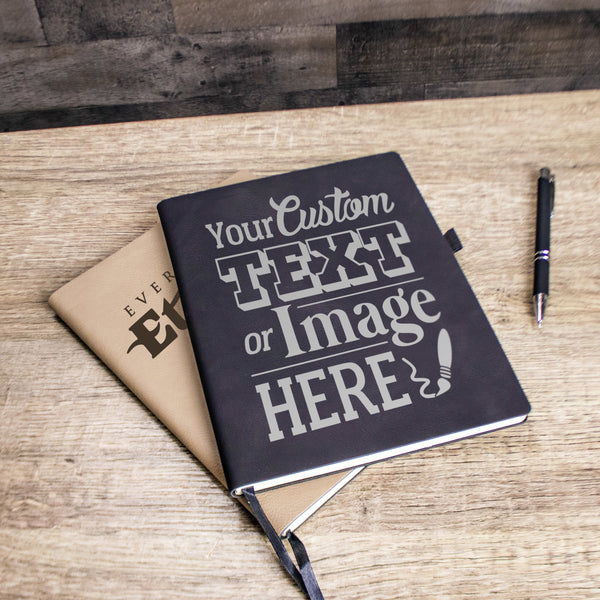 Personalized notebook can be customized with you logo, monogram, name, custom image or text. Everything Etched.