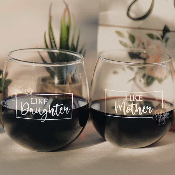 Etched Stemless Red Wine Glasses Set of 2 Mother & Daughter - Design: MD2