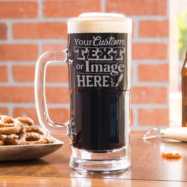 Personalized etched beer mugs is customized with your logo, monogram, image, or text.