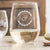 Etched Stemless White Wine Glasses - Design: N3 Couple