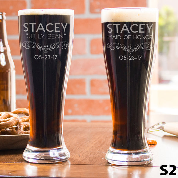 Personalized Pilsner Glass - 12 Designs