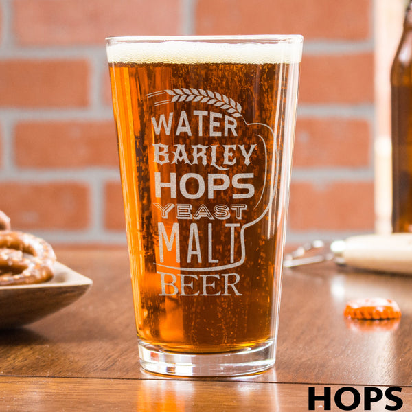 Etched Pint Glass - Design: HOPS