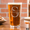 Etched Pint Glass Couples Monogram - Design: K3