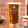 Etched Pint Glass Personalized - Design: M2