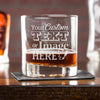 Engraved whiskey glasses are customized with your logo, monogram, image, or text.