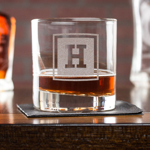 Engraved Whiskey Glasses - Design: INITIAL1
