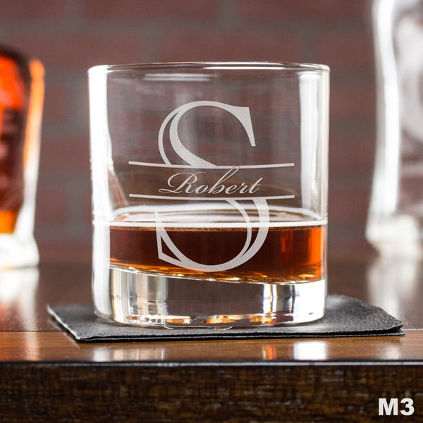 Engraved Whiskey Glasses Monogram - Design: M3