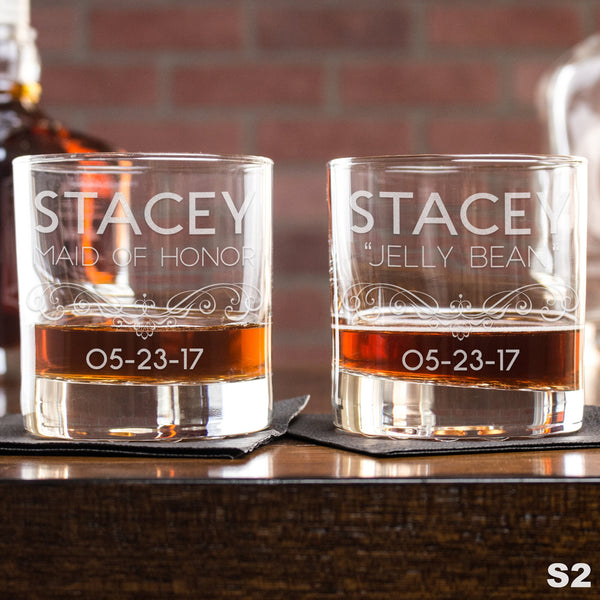 Engraved Whiskey Glasses Personalized - Design: S2