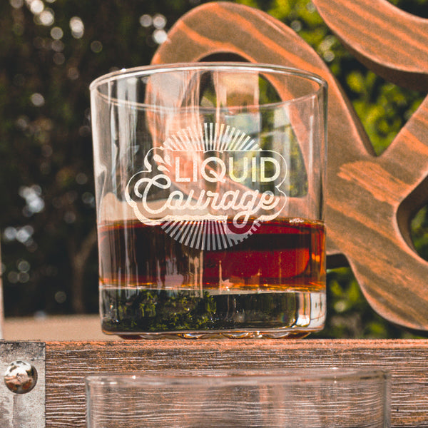 Liquid Courage Whiskey Glasses - Design: COURAGE