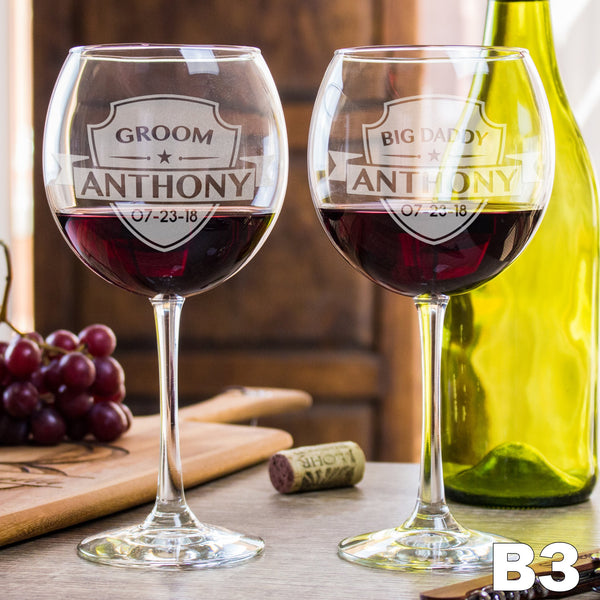 Etched Red Wine Glasses - Design: B3 Groomsmen