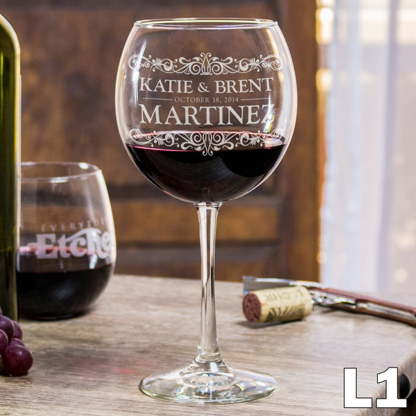 Etched Red Wine Glasses - Design: L1 Couples