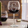 Etched Red Wine Glasses Monogram - Design: M3