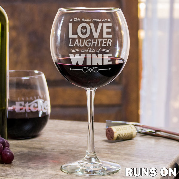 Etched Red Wine Glasses - Design: Runs On Wine