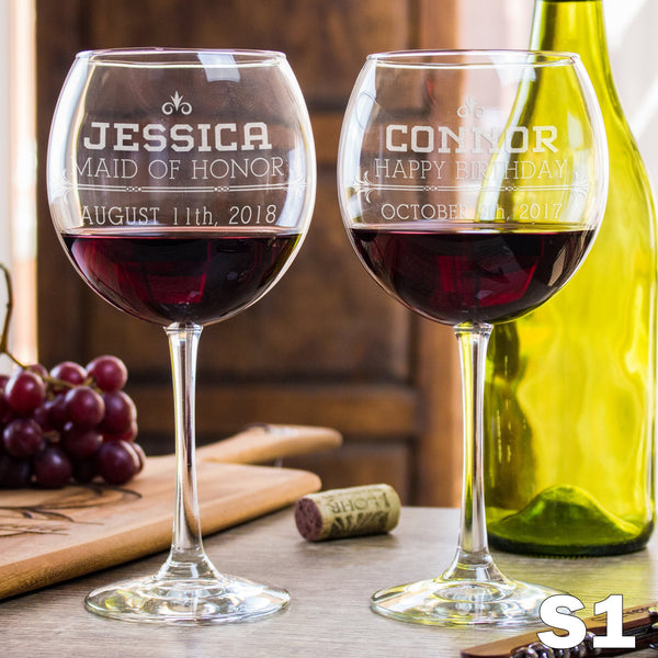 Etched Red Wine Glasses - Design: S1 Groomsmen or Bridesmaids