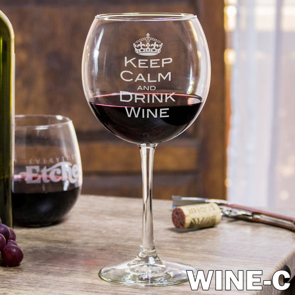 Red Wine Glass - Design: Wine w/Crown