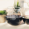 Etched Stemless Red Wine Glasses - Design: INITIAL3