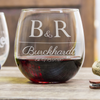 Etched Stemless Red Wine Glasses - Design: L2 Anniversary