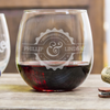 Etched Stemless Red Wine Glasses for Couples - Design: N3