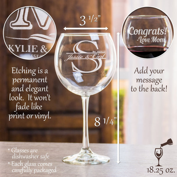 Etched Red Wine Glasses - Design: STORY