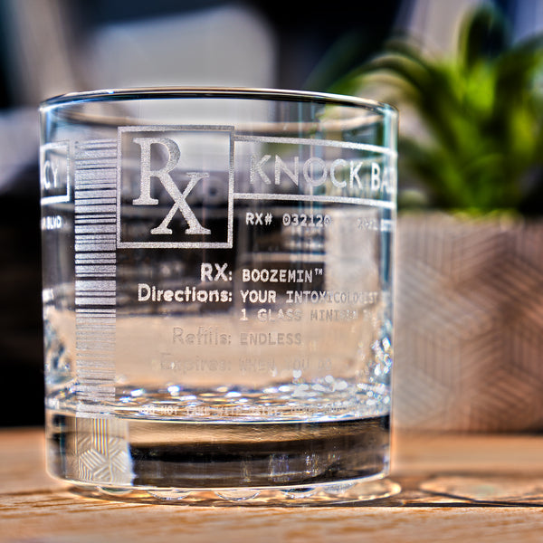 Prescription Whiskey Glass - Design: RX