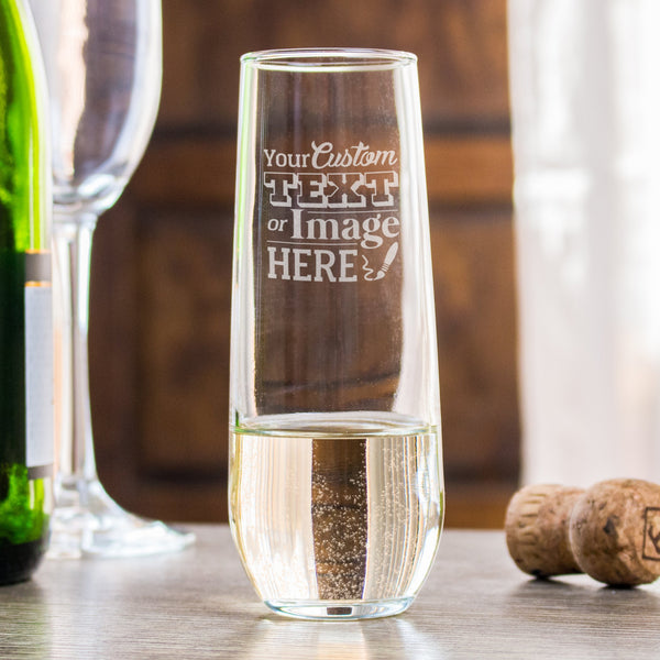 Personalized stemless champagne flute is customized with your logo, monogram, image, or text.
