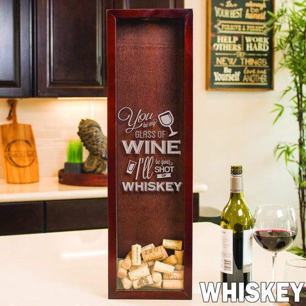 Small Rectangle Wine Cork Holder - Design: Whiskey
