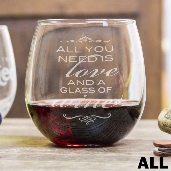Stemless Red Wine Glasses with Wine Quote