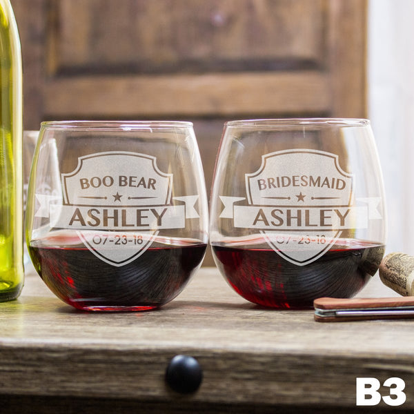 Stemless Red Wine Glass - Design: B3WP