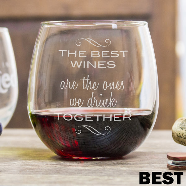 Etched Stemless Red Wine Glasses - Design: Best Friends