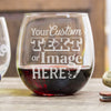 Personalized stemless red wine glass is customized with your logo, monogram, image, or text.