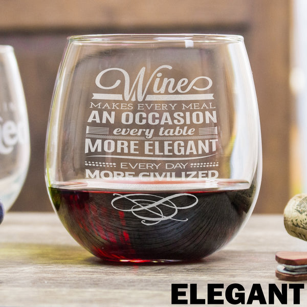 Stemless Red Wine Glass - Design: ELEGANT