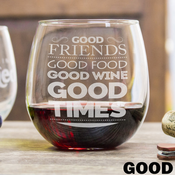 Etched Stemless Red Wine Glasses - Design: Good Wine