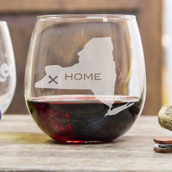 Etched Stemless Red Wine Glasses Homestate - Design: HOME