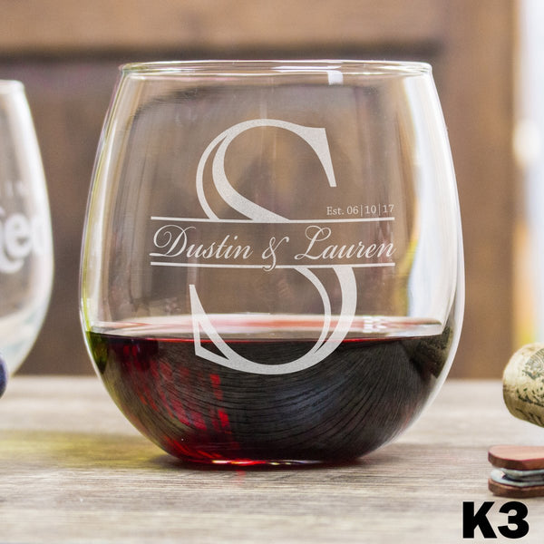 Etched Stemless Red Wine Glasses - Design: K3 Monogram