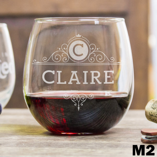 Etched Stemless Red Wine Glasses - Design: M2 Personalized