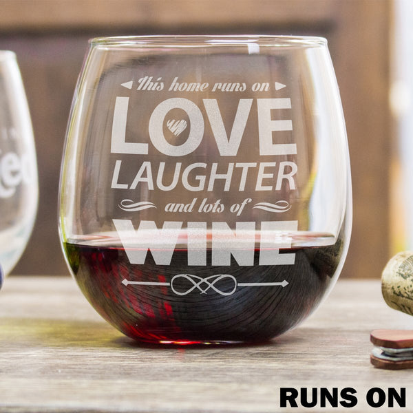Etched Stemless Red Wine Glasses - Design: Runs On Wine