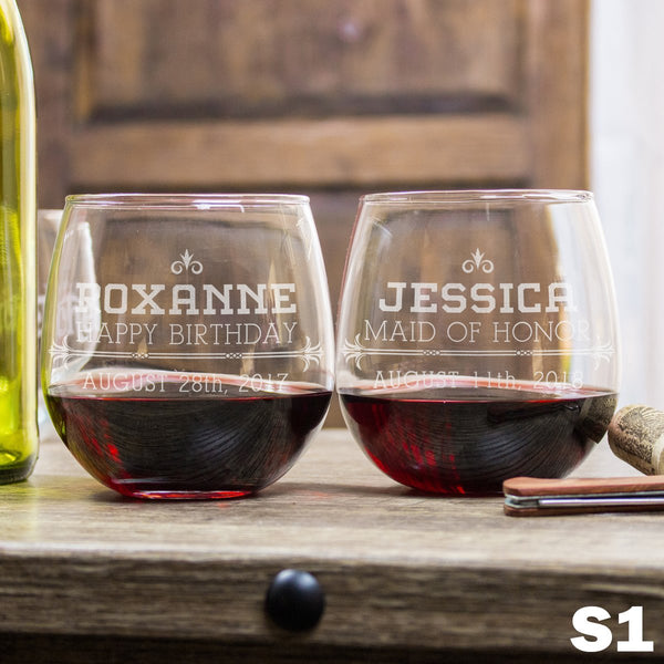 Personalized Stemless Red Wine Glass - 12 Designs