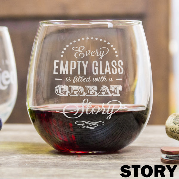 Etched Stemless Red Wine Glasses - Design: Story
