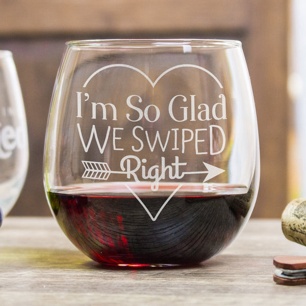 Stemless Red Wine Glass - Design: Swipe Right