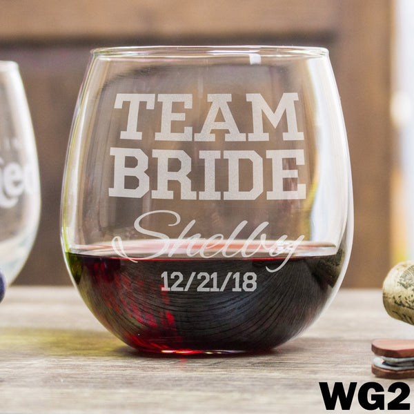 Etched Stemless Red Wine Glasses - Design: WG2 Team Bride