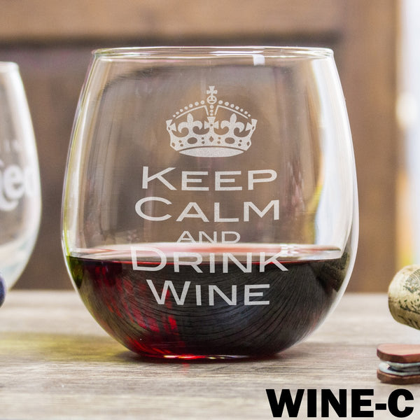 Etched Stemless Red Wine Glasses Keep Calm and Drink Wine - Design: WINEC