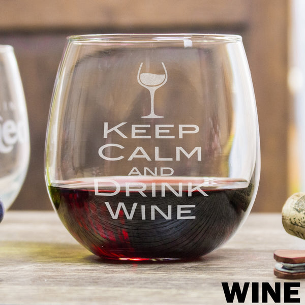 Etched Stemless Red Wine Glasses Keep Calm and Drink Wine - Design: WINE