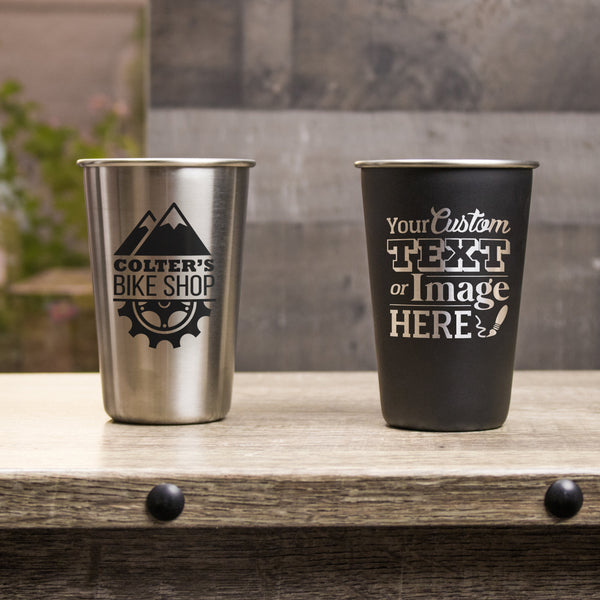 Custom stainless steel pint glasses are personalized with your logo, monogram, image, or text.