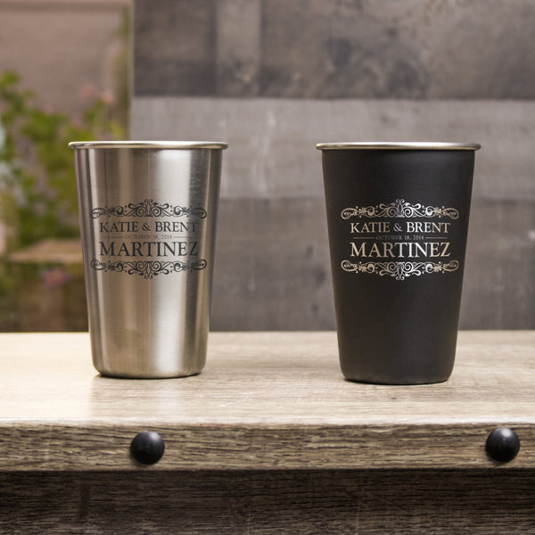 16 oz Stainless Steel Pint Glass - Design: L1