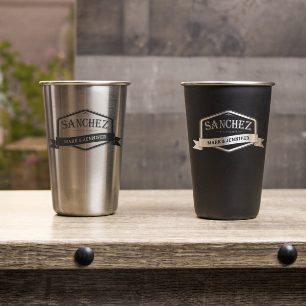 16 oz Stainless Steel Pint Glass - Design: L3
