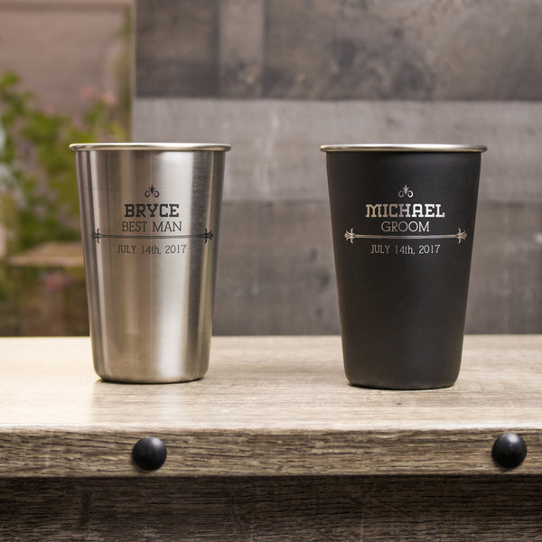 16 oz Stainless Steel Pint Glass - Design: S1WP
